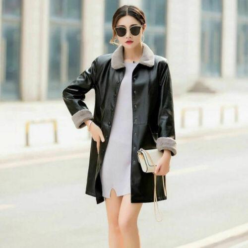 Women Faux Leather Long Blazer Jacket Coat Fleece Lined Warm Outerwear Plus Size