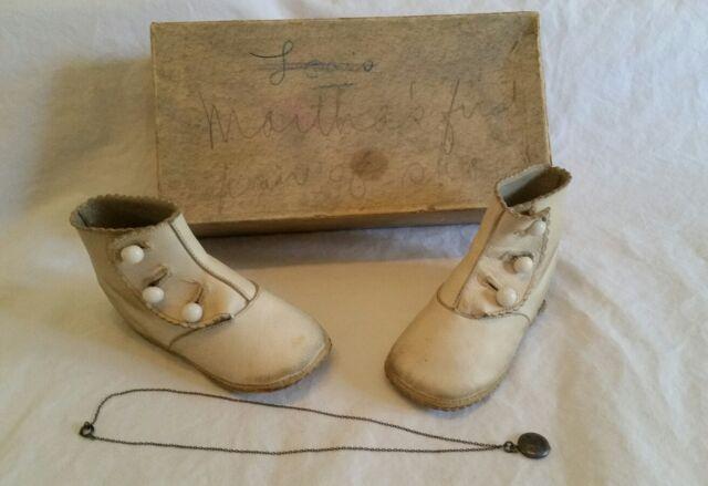 Antique Victorian Hightop Button Baby Shoes Original Box & Locket