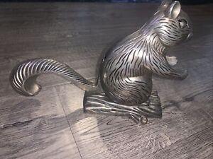 Vintage écureuil sur Log Casse-noisette Plaqué Argent Godinger Silver ART Co.