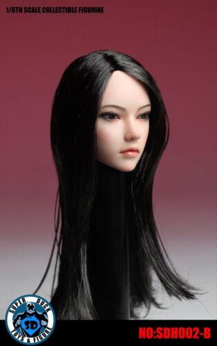 SUPER DUCK SDH002B 1//6 Asian Black Long Straight Hair Girl Head Carving Toy