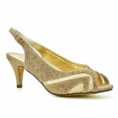 Ladies Low Kitten Heels Court Shoes Womens Diamante Bridal Peep Toe Party Prom