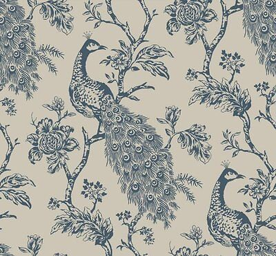 York Floral Peacock Designer Chic Blue Grey Taupe Tan Classic Textured Wallpaper