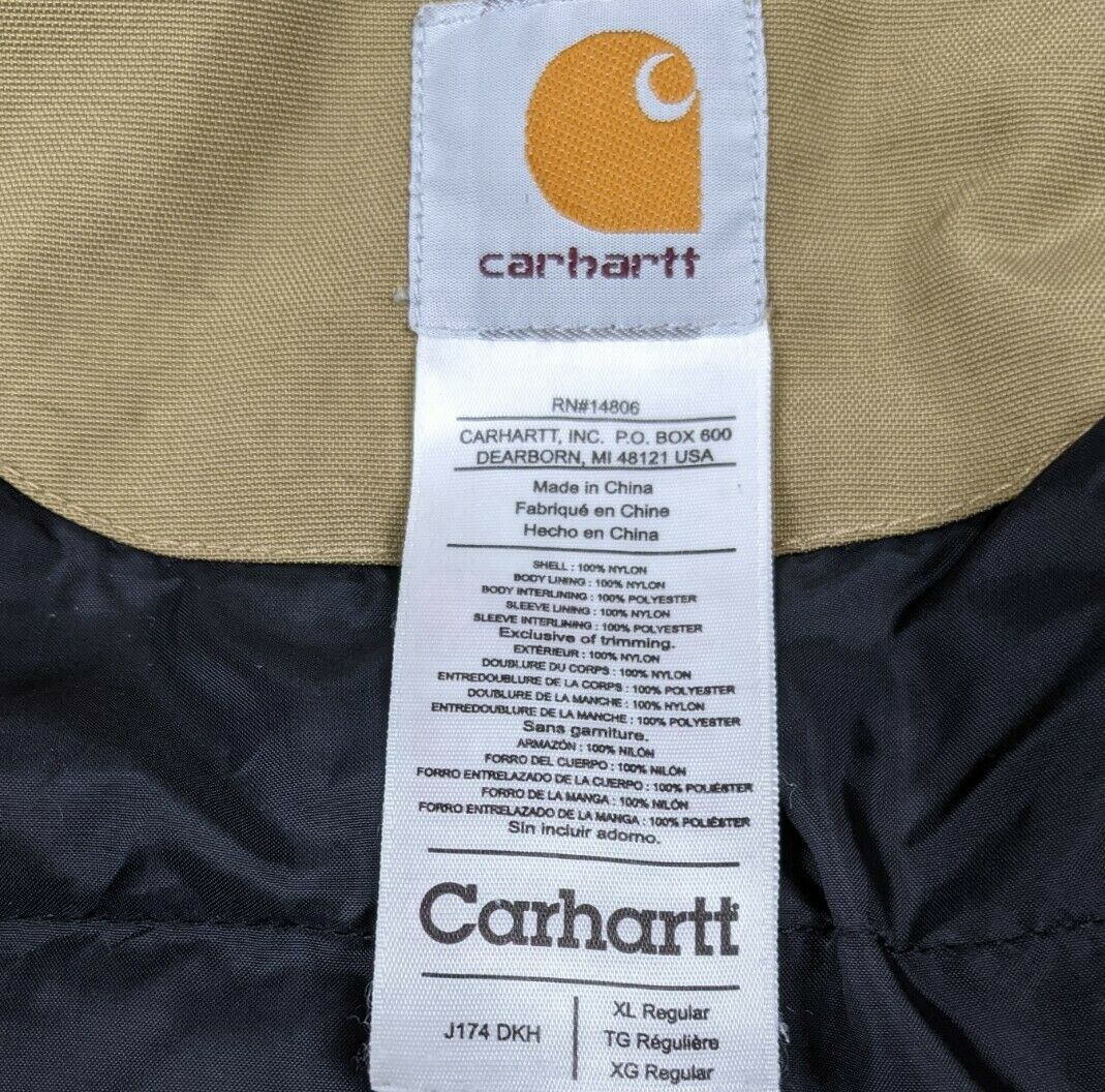 Details about  /$120 NWT Carhartt Mens Black Nylon Traditional Insulated Quilt Lined Jacket Work