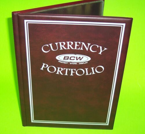 10 PAGES FOR 30 BILLS-Pocket size 3 7//8 x 8 1//4 CURRENCY BURGUNDY PORTFOLIO