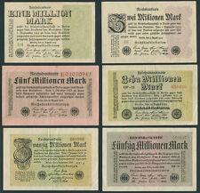 Deutsches Reich  1 , 2 , 5 , 10 , 20 , 50 Millionen Mark 1923 (3)