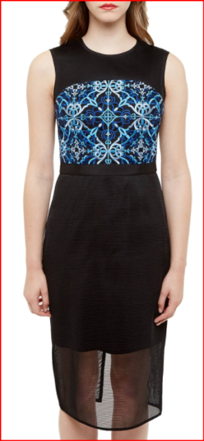 Ted Baker Black Blue Khya Embroidered Mesh Sleeveless Midi Dress sz 1