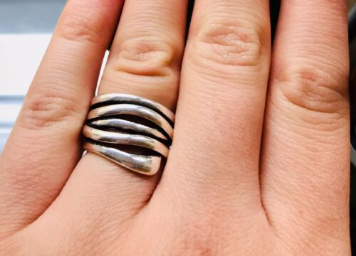 Vintage Multi-Layer Geometric Irregular Ring 925 Silver Ring Boho Thumb Ring