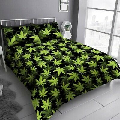 Black And Green Cannabis Leaf Marijuana Leaves King Size Bedding Duvet Cover Set