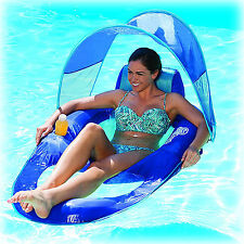 Pool Chair Canopy Float Inflatable Lounge Raft Swimming Recliner Water Floating  sc 1 st  eBay & Inflatable Float Recliner Lounge Chair Raft Sun Shade Canopy Pool ...