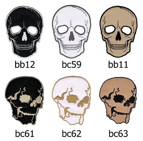 Set #046 Totenkopf Biker Kutte Weste Skull Tattoo Aufnäher Bügelbild Applikation