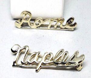 Two-Vintage-Travel-Name-Pins-NAPLES-ROME-Souvenir-Silver-Tone-Pins