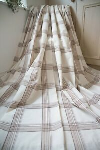 CREAM-BEIGE-BROWN-CHECKED-EYELET-CURTAINS-66WX72D-PLAID-DUNELM-LINED-SHABBY-CHIC