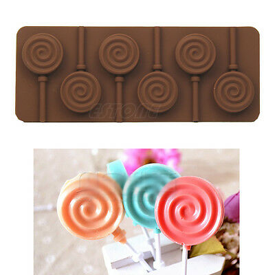 6 Hole Lollipop Silicone Mould Ice Cube Chocolate Cake Cookie Cupcake Molds New