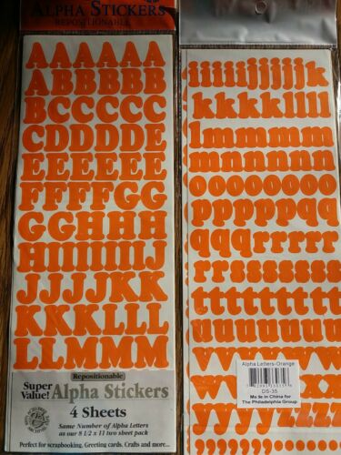 Orange upper lower case Alpha numbers repositionable letters Alphabet stickers