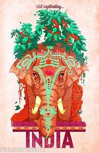 Captivating India Elephant Vintage Indian Asian Travel Art ...