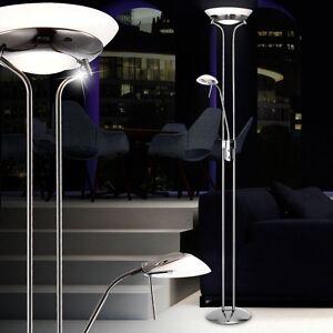 Design Wohnzimmer Deckenfluter Stehleuchte Inkl Leselampe Dimmbar Nickel