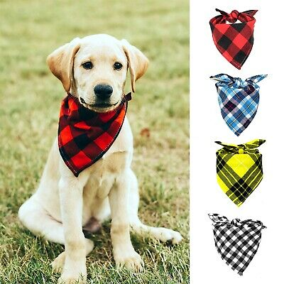 Size S,M,L,XL Dog Bandana Checkered Paw Prints!, OVER THE COLLAR,clothes pet
