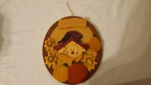 Details About Autumn Fall Festive Wood Scarecrow Welcome Sign Decor Handmade Hanging 11x9 3d