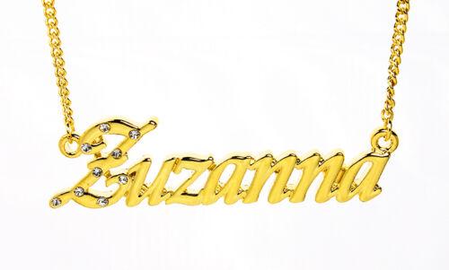 18k Chapado En Oro Con Collar Con Nombre zuzanna-Boda Amor Regalos Para Su Cumpleaños