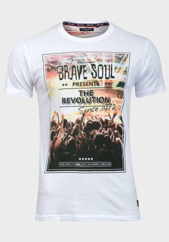 Mens T Shirt Brave Soul  Mods vs Rockers Print Short Sleeved Top Summer