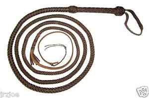12-foot-10-plait-DARK-BROWN-Real-Leather-Bullwhip-Indiana-Jones-Style-Bull-Whip