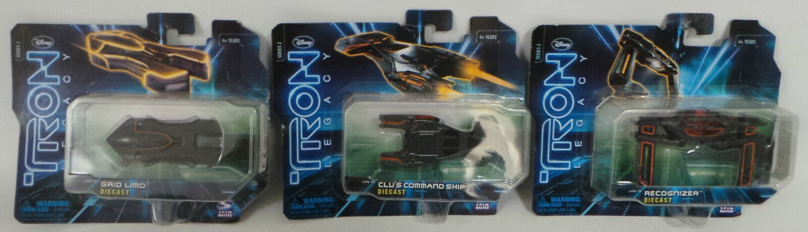 TRON LEGACY    3 VEHICLES   GRID LIMO, RECOGNIZER, CLU'S COMMAND SHIP (DEL)