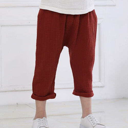 0-5T Kids Boy Girl Cotton Linen Pants Toddler Solid Loose Harem Casual Trousers