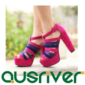 Womens-Ladies-Platform-Heeled-Sandals-With-Colour-Splicing-Stripe-Western-Shoes