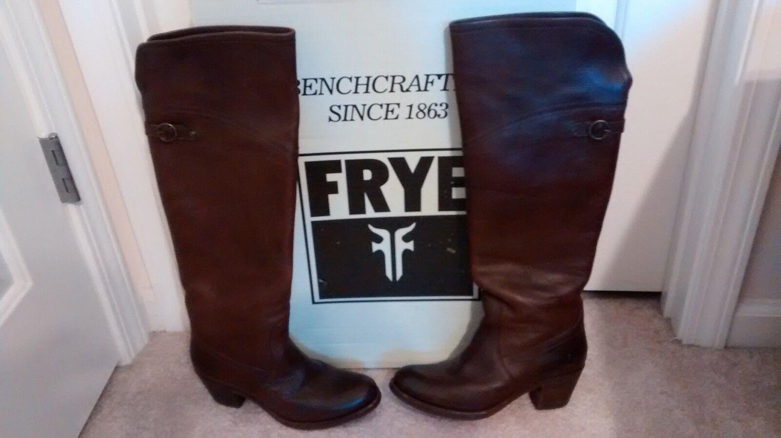 FRYE Women's Jane Tall Cuff Boot Dark Brown-77595 Size 7(M) EUC
