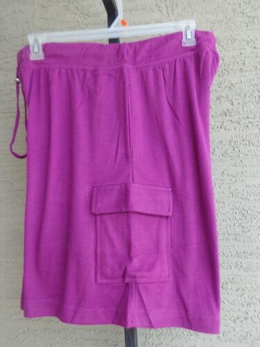 Woman Within Plus L 18-20W Cotton Blend Jersey  Elastic Waist Cargo Shorts Berry