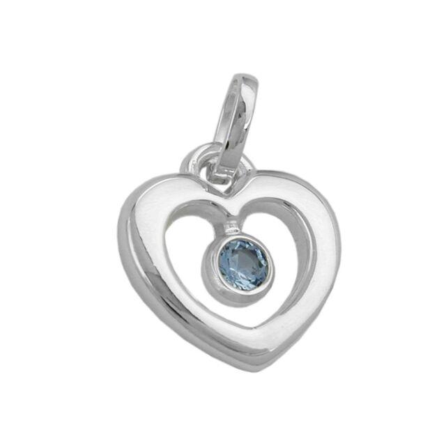 Anhänger Herz mit Blautopas hellblau, 925 Echt Silber, Silberanhänger, Damen