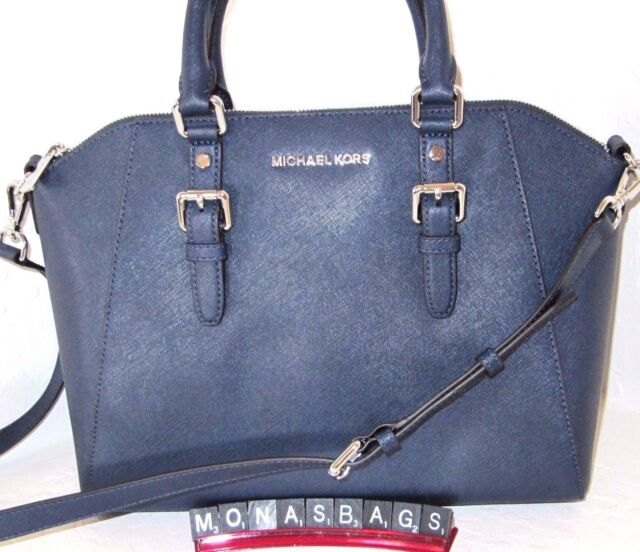 Michael Kors Large Ciara Satchel Navy Blue Saffiano Leather Top Zip Bag Nwt 398