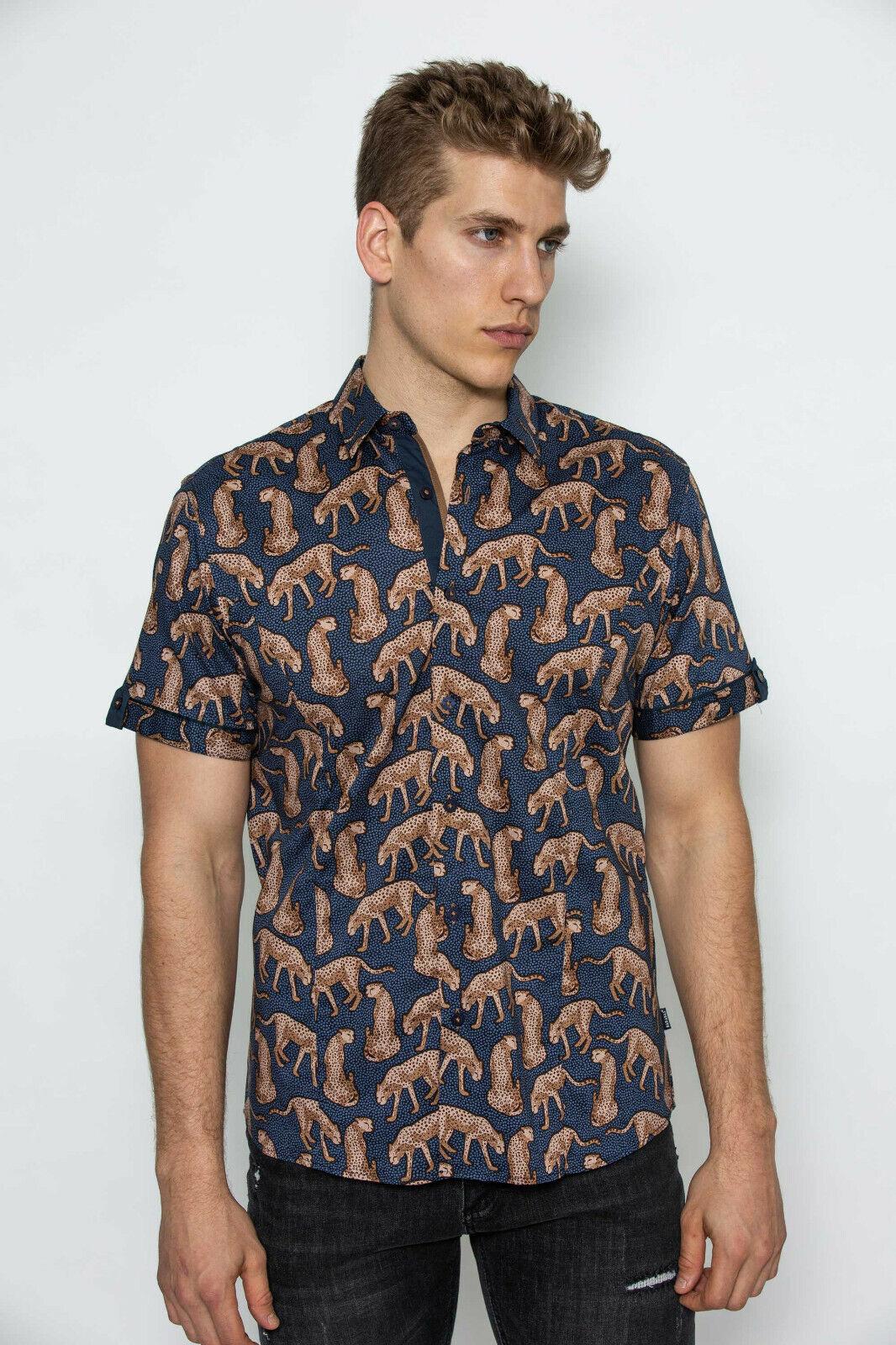 Barabas Short Sleeve Dress hemd Leopard herren