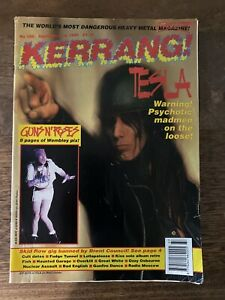 KERRANG-Magazine-358-Sept-1991-UK-Tesla-KISS-Band-1970-039-s-Article-Guns-N-Roses