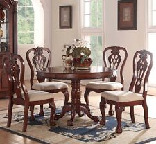 NEW 5PC GENEVA ROUND PEDESTAL FORMAL CARVED CHERRY FINISH WOOD DINING TABLE SET