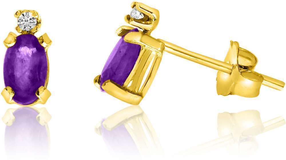 14K Yellow gold Oval Amethyst & Diamond Earrings E2235-02