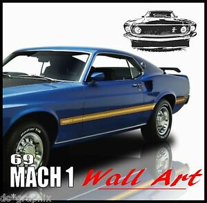 Image is loading MUSTANG-69-MACH-1-ABSTRACT-VINYL-WALL-DECAL-  sc 1 st  eBay & MUSTANG 69 MACH 1 ABSTRACT VINYL WALL DECAL STICKER MUSCLE CAR WALL ...