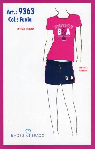 PIGIAMA DONNA BACI/&ABBRACCI IN COTONE ART 9363 MEZZA MANICA CON PANTALONE CORTO