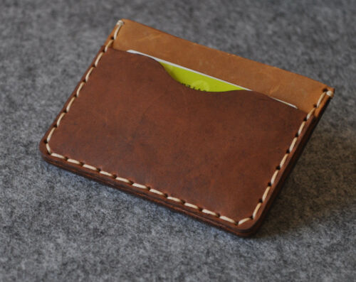Brown leather wallet credit and business card cash banknote holder pouch sleeve