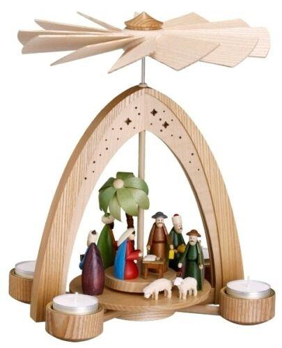Tischpyramide Christi Geburt bunt mit Teelichter 21,5x28x21,5cm NEU Holzpyramide