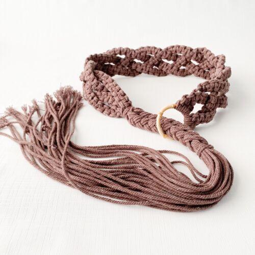 Vintage Liz Claiborne red crochetmacrame cotton rope tan leather bohohippie beltbraided woven chord beltmedium