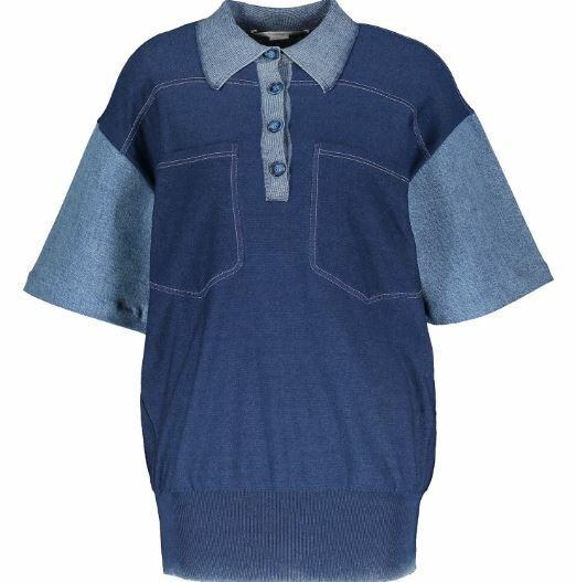 BNWT RRP  Authentic Designer STELLA MCCARTNEY Blu Denim Polo Shirt Top UK8