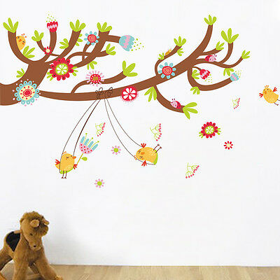 Big Size Tree Happy Birds Swing Vinyl Wall Decal Sticker Kids Baby Nursery Room