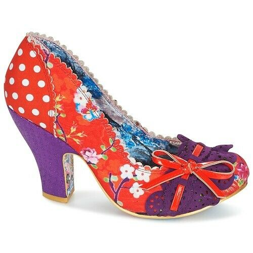Irregular Choice Make My Tag (Ak) Orange Blaumen Hoher Absatz Schuhe