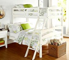 White Bunk Beds Twin Over Full Solid Wood Convertible 2 Bedroom Furniture Kids