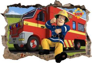 Details zu s17 Wandtattoo 120 cm Feuerwehrmann Sam Fireman Loch STICKER 3D  Wandaufkleber