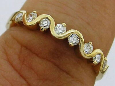 sR108 Genuine 18K Yellow Gold Natural DIAMOND 0.25ct Wedding Eternity Ring size7