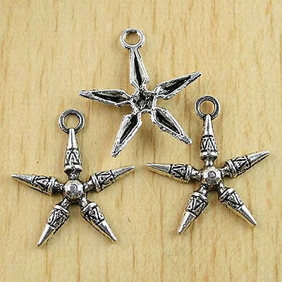 12pcs Tibetan silver tone crafted snowflake design charms h0099
