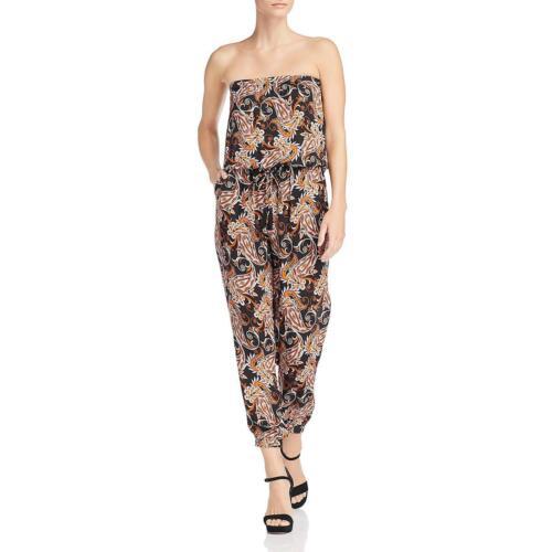 Kobi Halperin Womens Molly Black Silk Printed Strapless Jumpsuit XS BHFO 9450