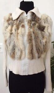 Jennyfer J Rabbit Fur Zip Up Knit Cream Cardigan Sweater